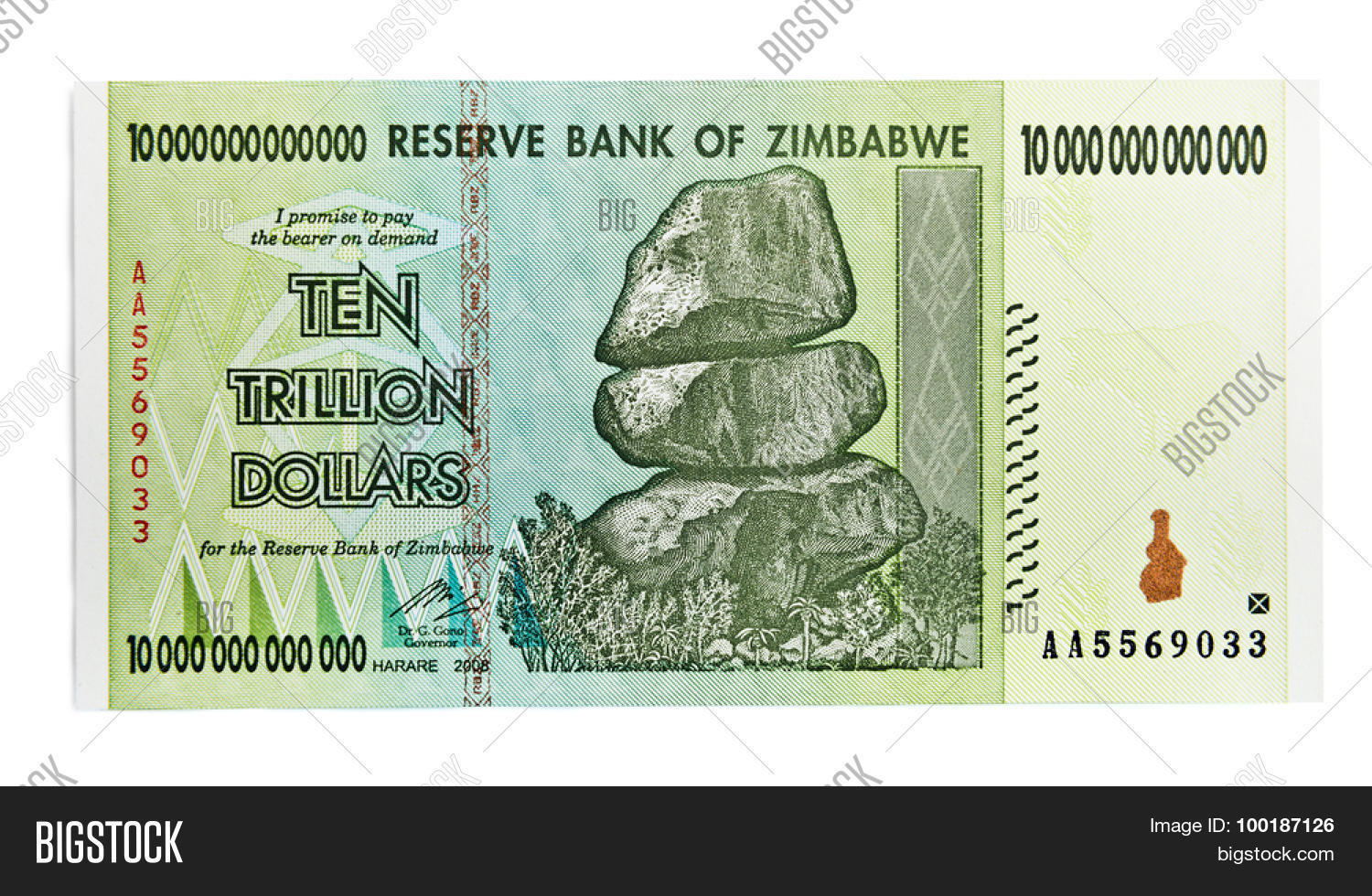 Zimbabwe Ten Trillion Dollars Bill Hyper Inflation Concept This Banknote Not Used In