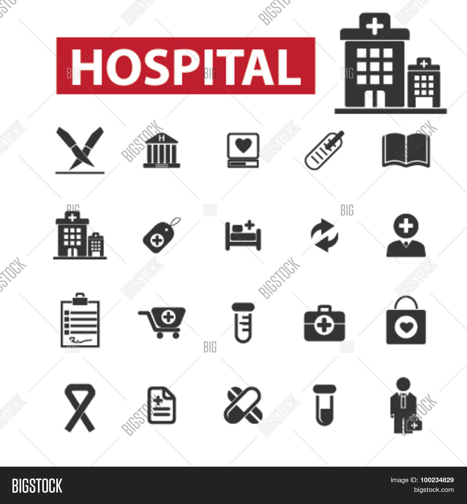 Hospital Black Vector & Photo (Free Trial) | Bigstock