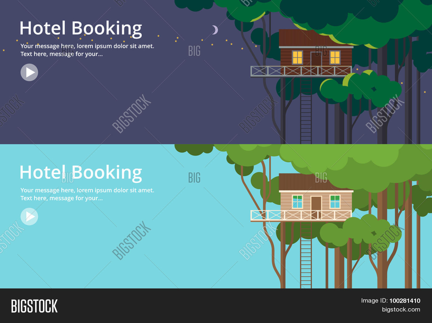 Colorful Vector Flat Banner Set. Quality Design Illustrations, Elements And  Concept   Tree House