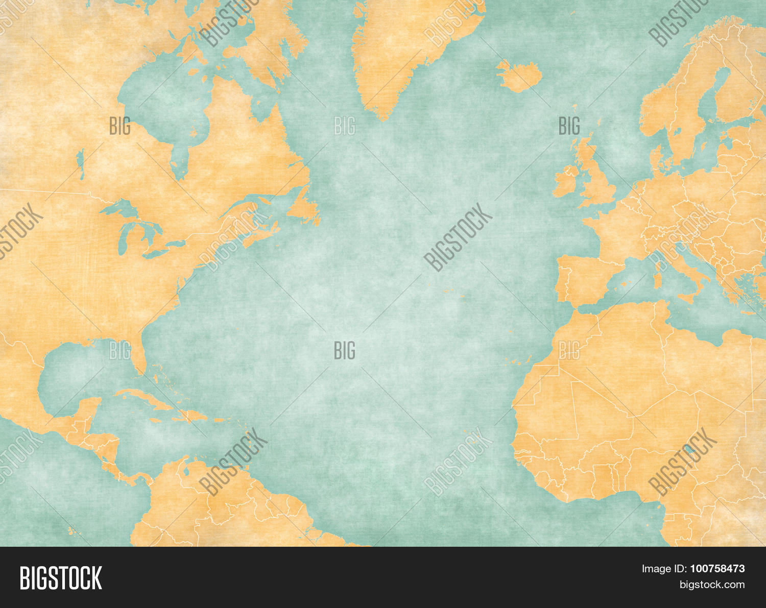 Blank Map Of North Atlantic Ocean With Country Borders The Is In Vintage Summer
