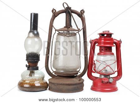 Old oil lamp on a white background