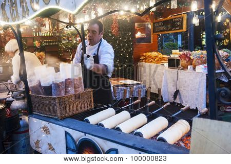 Traditional Hungarian Kalach On Christmas Market