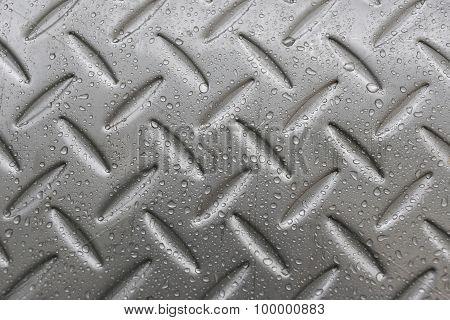 Water Drop On Metal Background.