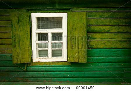 Old vintage open wooden window