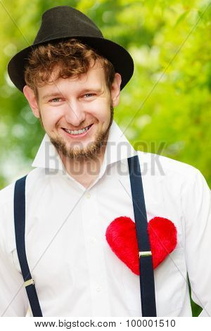 Young Man Retro Style With Red Heart On Chest