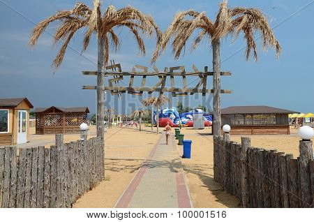 Entrance To The Nightclub Kokos On The Beach In Kerch