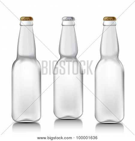 Set realistic glass bottles.
