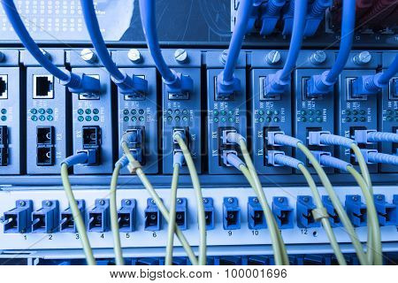 Fiber Optic cables connected to an optic ports and UTP Network cables connected to ethernet ports.