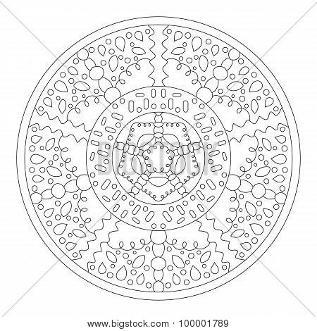 Round mandala for coloring. Ethnic symmetric pattern for the design