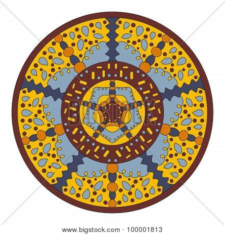 Symmetrical circular pattern of colored mandala, vector round