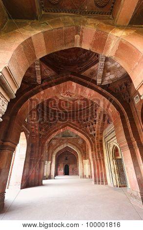 Delhi, India - November 6: Interior Of Qila-i-kuna Mosque In Purana Qila On November 6, 2014 In Delh