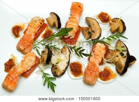Salad Of Porcini Mushrooms And Grilled Lobster