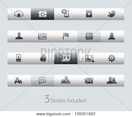 Social Web // Classic Bars +++ The vector file includes 3 buttons states in different layers. +++