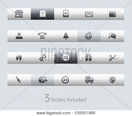 e-Shop // Classic Bars +++ The vector file includes 3 buttons states in different layers. +++