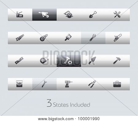 Tools // Classic Bars +++ The vector file includes 3 buttons states in different layers. +++