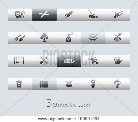 Gardening // Classic Bars +++ The vector file includes 3 buttons states in different layers. +++