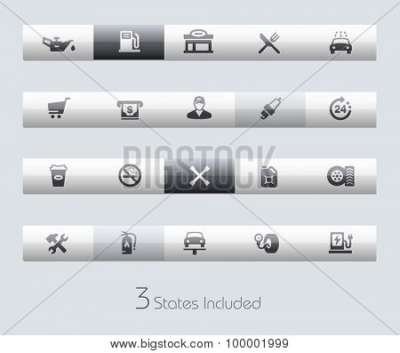 Gas Station // Classic Bars +++ The vector file includes 3 buttons states in different layers. +++