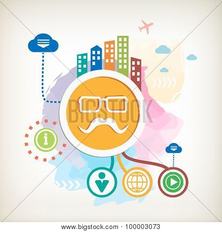 Mustache And Glasses Sign Icon And City On Abstract Colorful Watercolor Background.