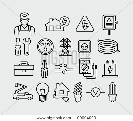 Vector Electricity outline icons