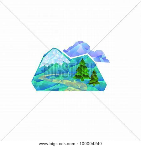 Icon of mountain landscape with mountains, trees and clouds