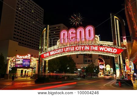 """Reno, Usa - August 12: """"the Biggest Little City In The World"""" Sign Over Virginia Street At Night On"""