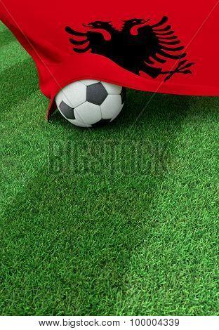 Soccer Ball And National Flag Of Albania,  Green Grass