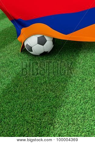 Soccer Ball And National Flag Of Armenia,  Green Grass
