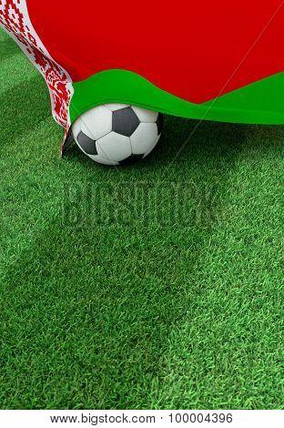 Soccer Ball And National Flag Of Belarus,  Green Grass