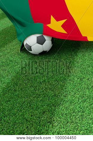 Soccer Ball And National Flag Of Cameroon,  Green Grass