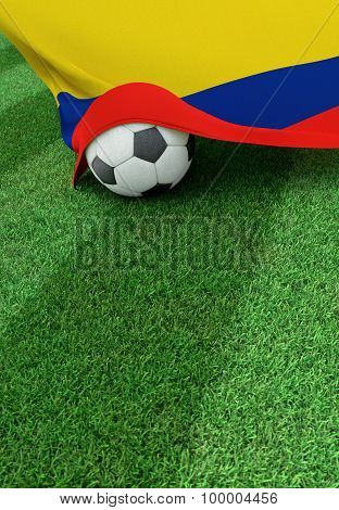 Soccer Ball And National Flag Of Colombia,  Green Grass