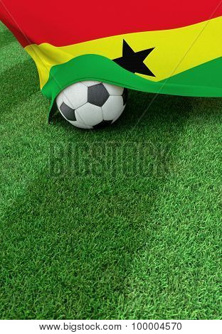Soccer Ball And National Flag Of Ghana,  Green Grass