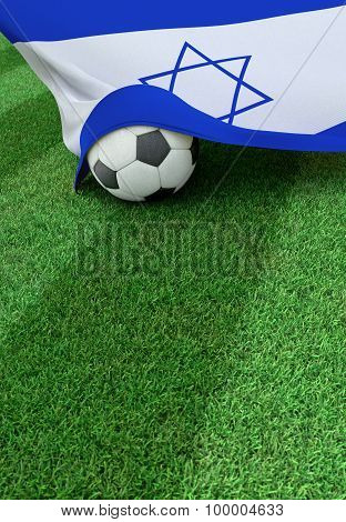 Soccer Ball And National Flag Of Israel,  Green Grass