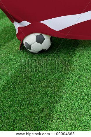 Soccer Ball And National Flag Of Latvia,  Green Grass
