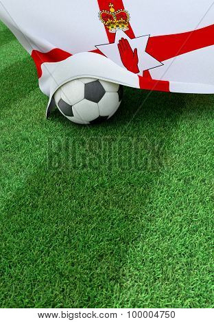 Soccer Ball And National Flag Of Northern Ireland,  Green Grass