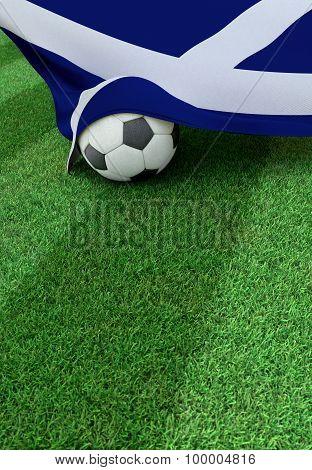 Soccer Ball And National Flag Of Scotland,  Green Grass