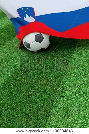 Soccer Ball And National Flag Of Slovenia,  Green Grass