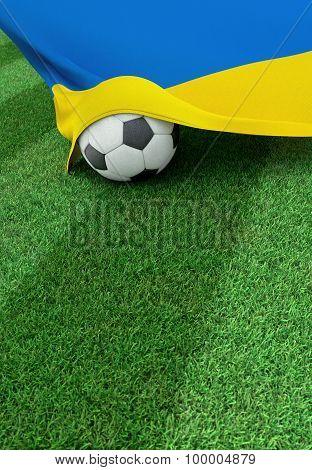 Soccer Ball And National Flag Of Ukraine,  Green Grass