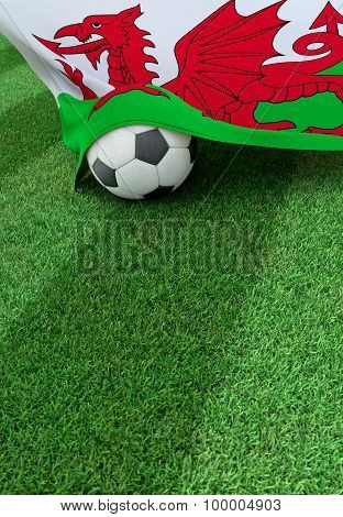 Soccer Ball And National Flag Of Wales,  Green Grass