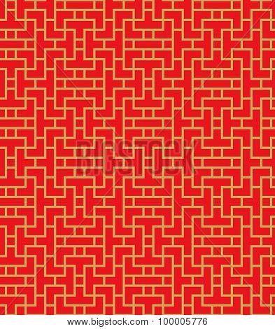 Golden seamless Chinese lattice geometry line pattern background.