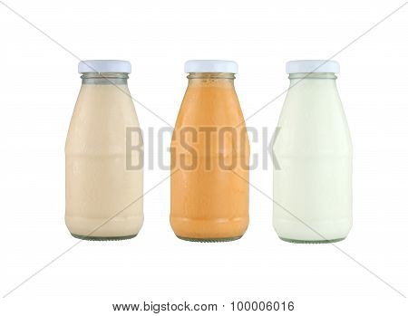 Milk Glass Bottle Isolated On White.