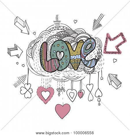 Love vector hand drawing background