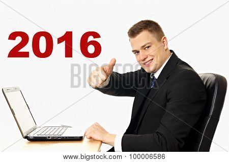 Happy new 2016 year with handsome businessman