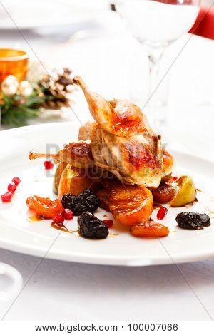 quail on Christmas table