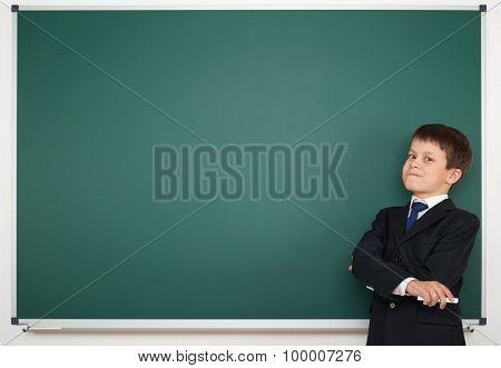 school boy on clear board background