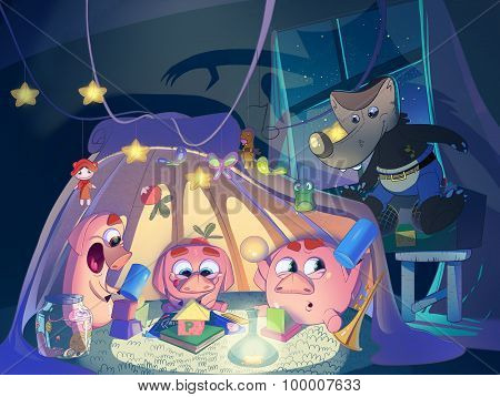 Three Little Pigs In The Playing Tent.