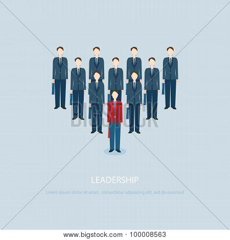 Leadership Businessman In Red Businessmen Lead Blue Colleagues.