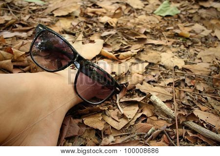 Sunglasses With Foot On Background Of Brown Leaves.