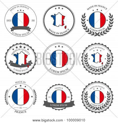 Made in France, seals, badges. Vector
