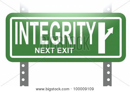 Integrity Green Sign Board Isolated