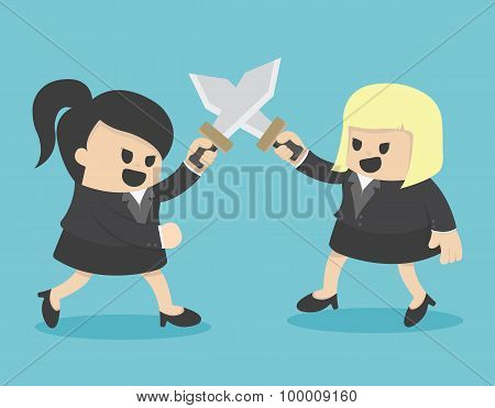 Business Woman Fight With Sword